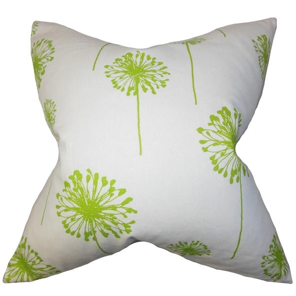 Dandelion Floral Green Feather Filled 18-inch Throw Pillow