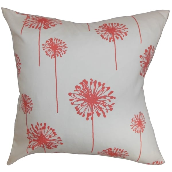 Dandelion Floral White Coral Feather Filled Throw Pillow