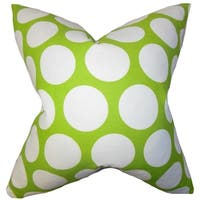 Dilly Geometric Green Feather Filled Throw Pillow