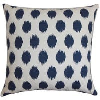 Faustine Dots Navy Blue Feather Filled Throw Pillow