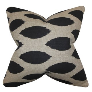 Juliaca Ikat Black Feather Filled 18-inch Throw Pillow