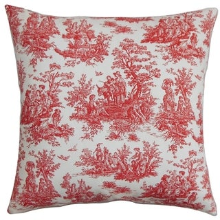 Lalibela Toile Red White Feather Filled 18-inch Throw Pillow