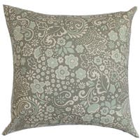 Manchineel Floral Porcelain Blue Feather Filled 18-inch Throw Pillow