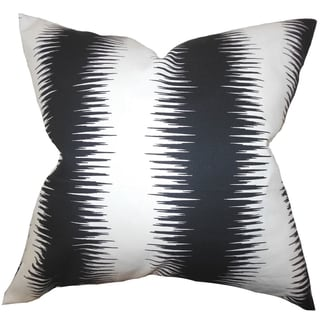 Garbo Geometric Black Feather Filled 18-inch Throw Pillow