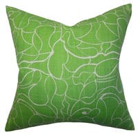 Floral Green Feather Filled 18-inch Throw Pillow