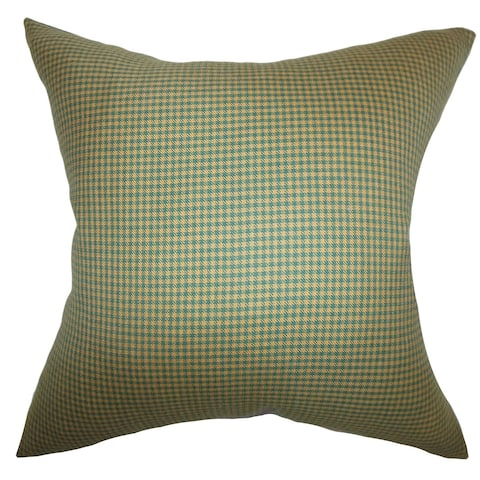 Alix Plaid Green Brown Feather Filled Throw Pillow