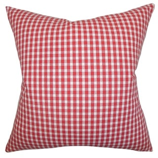 Jhode Plaid Red Feather Filled 18-inch Throw Pillow