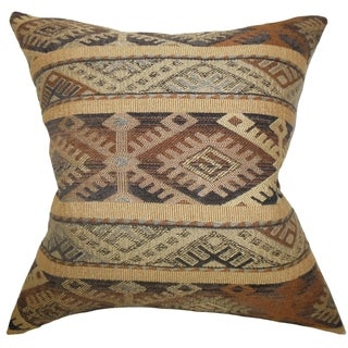 Betsan Geometric Beige Feather Filled 18-inch Throw Pillow