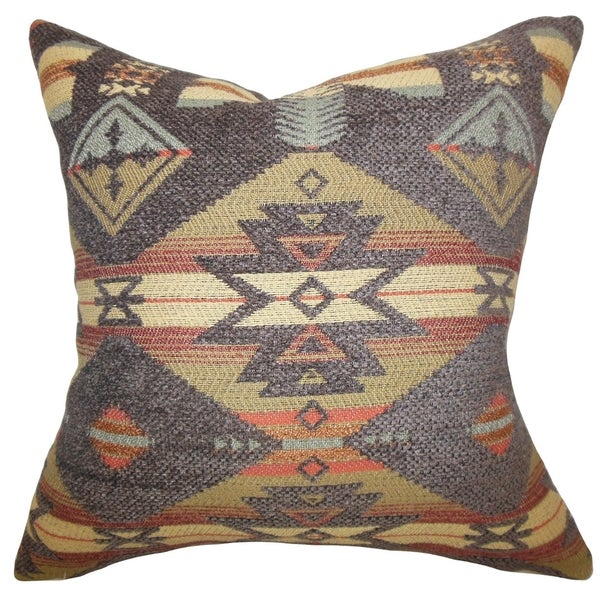 Cantata Geometric Brown Green Feather Filled 18-inch Throw Pillow