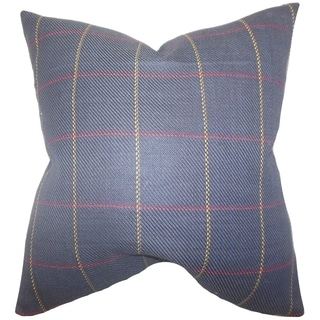 Maillol Plaid Blue Feather Filled Throw Pillow
