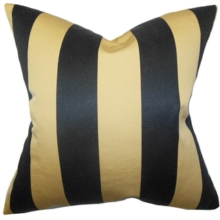 Naoko Stripes Gold Black Feather Filled 18-inch Throw Pillow