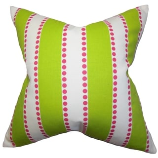 Odienne Stripes Green Feather Filled 18-inch Throw Pillow