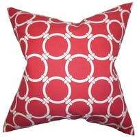 Betchet Geometric Red Feather Filled Throw Pillow