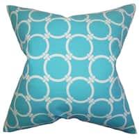 Betchet Geometric Sky Blue Feather Filled Throw Pillow