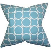 Bechet Geometric Blue Feather Filled Throw Pillow