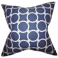 Betchet Geometric Blue Feather Filled Throw Pillow