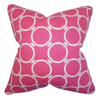 Betchet Geometric Candy Pink Feather Filled Throw Pillow
