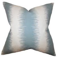 Garbo Geometric Blue Feather Filled Throw Pillow