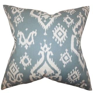 Halona Ikat Teal Feather Filled Throw Pillow