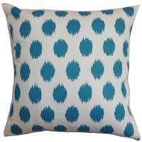 Kaintiba Ikat Blue Feather Filled Throw Pillow