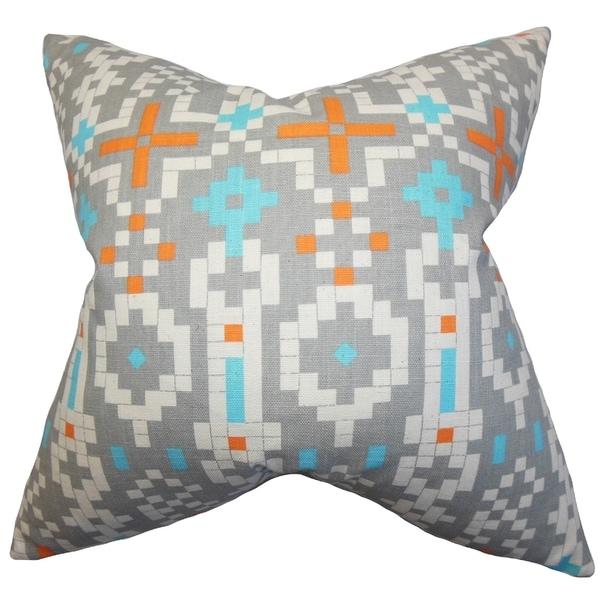 Eleni Geometric Orange Feather Filled 18-inch Throw Pillow