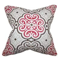 Nascha Geometric Red Blue Feather Filled Throw Pillow