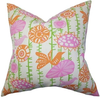 Nettle Floral Pink Feather Filled Reversible Throw Pillow