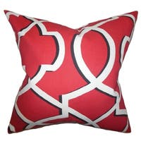 Curan Geometric Red Feather Filled Throw Pillow