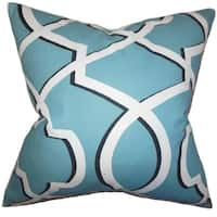 Curan Geometric Blue Feather Filled Throw Pillow