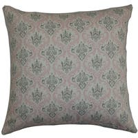 Paulomi Damask Twill Pink Feather Filled 18-inch Throw Pillow