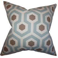 Maliah Geometric Pewter Natural Feather Filled Throw Pillow