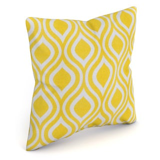 Poplar Geometric Yellow Feather Filled Throw Pillow