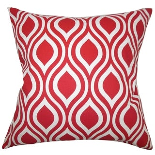 Poplar Geometric Red Feather Filled Throw Pillow