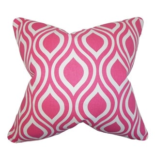 Poplar Geometric Candy Pink Feather Filled Throw Pillow