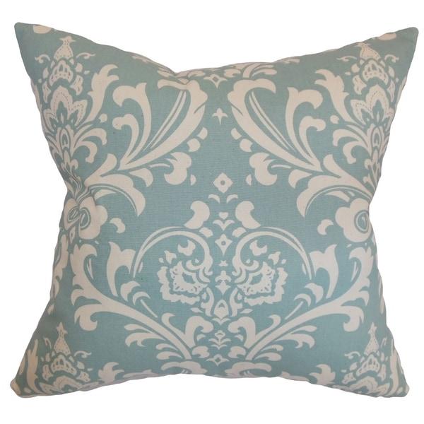 Malaga Damask Village Blue Feather Filled Throw Pillow
