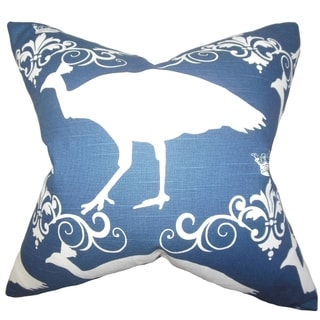 Flannery Animal Print Blue Feather Filled Throw Pillow