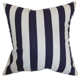 Ilaam Stripes Blue Feather Filled 18-inch Throw Pillow