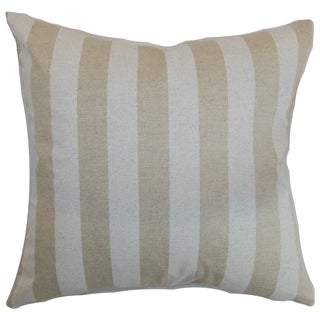 Ilaam Stripes Cloud Linen Feather Filled Reversible Throw Pillow