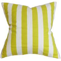 Ilaam Stripes Green Feather Filled Throw Pillow