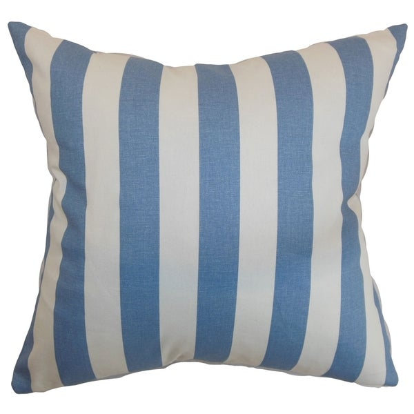 Ilaam Stripes Baby Blue Feather Filled Throw Pillow. Opens flyout.