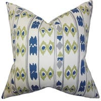 Delano Geometric Blue Feather Filled Throw Pillow