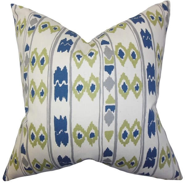 Delano Geometric Blue Feather Filled Throw Pillow