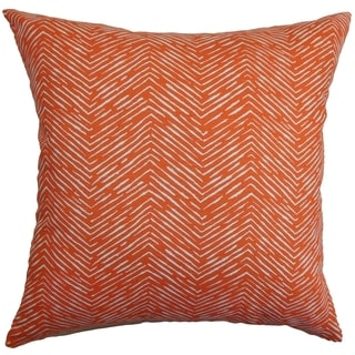 Edythe Zigzag Orange Feather Filled Throw Pillow