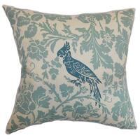 Gayndah Floral Blue Natural Feather Filled Throw Pillow
