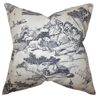 Folami Toile Black Feather Filled 18-inch Throw Pillow
