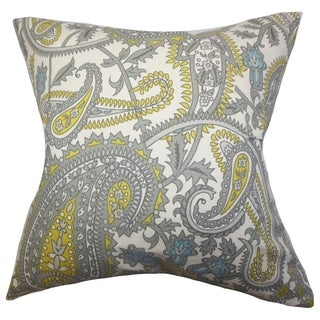 Putri Paisley Gray Feather Filled Throw Pillow