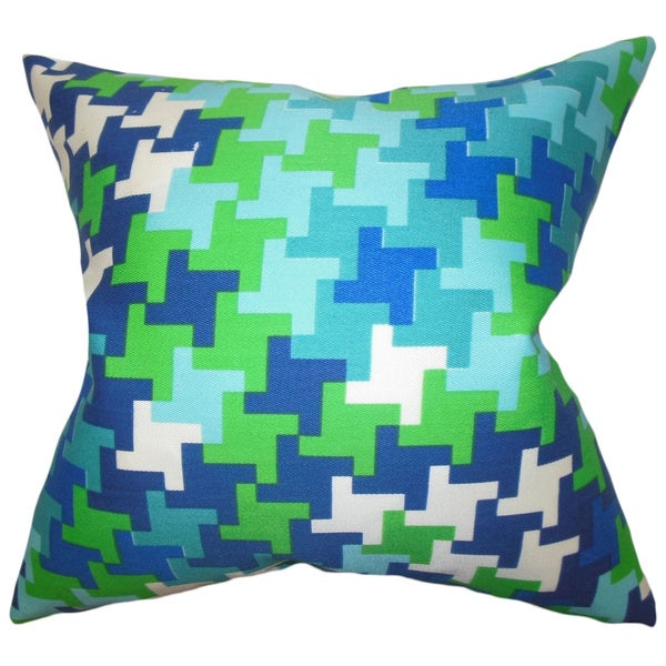 Ciel Geometric Blue Green Feather Filled Throw Pillow