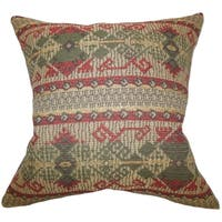 Egle Geometric Green Red Feather Filled Throw Pillow