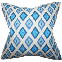 Ipomen Geometric Blue Feather Filled Throw Pillow