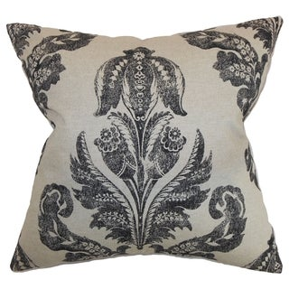 Figari Floral Black Linen Feather Filled 18-inch Throw Pillow